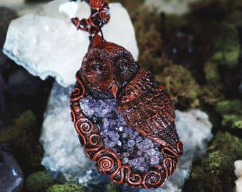 Amethyst Barn Owl Pendant