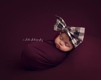 NOIR GINGHAM Gorgeous Wrap- headwrap; fabric head wrap; plaid head wrap; boho; newborn headband; baby headband; toddler headband
