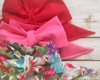 Gorgeous Wrap Trio (3 Gorgeous Wraps)- Candy Apple, Bubblegum & Garden Floral Gorgeous Wraps; headwraps; fabric head wraps; bows