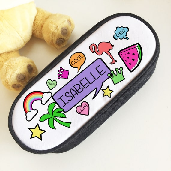 Purple Retro Kids Pencil Case Personalised Luxury Deep Filled case, Back to School, Stationery Supply for Boys and Girls