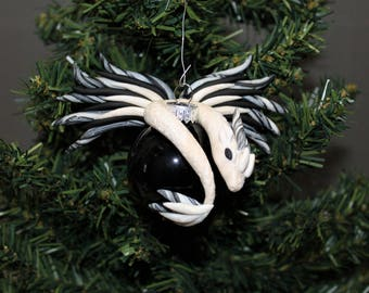 Black and White Dragon Christmas Ornament Polymer Clay