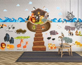 GIANT NOAH'S ARK Wall Decal for Kids // Giant Ark Decal // Noah's Ark Decal // Noah's Ark for Kids // Ark Wall Sticker- WDSET10056