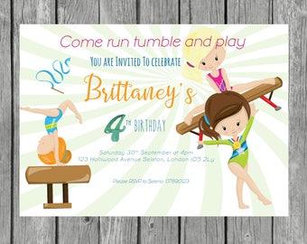 Gymnastics invitation- Girl party invite birthday- pink gymnastics-tumbling invitaion