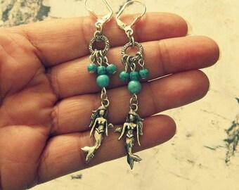 Mermaid Earrings Handmade, Ocean Earrings, Sea Earrings, Beach Earrings, Seaside Jewelry, Coastal Jewelry, Mermaid At Heart, Gifts Under 20