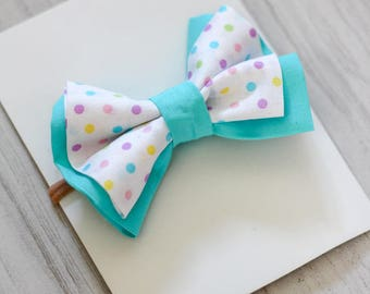 Easter Teal Dots Bow