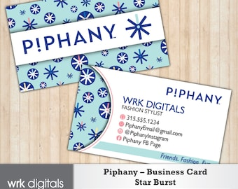 Piphany Business Cards, Star Burst Design, Customized Business Card, Direct Sales, Fashion Stylist