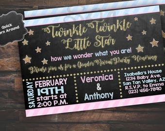 Twinkle Twinkle Little Star, Gender Reveal Invitation, Gender Reveal