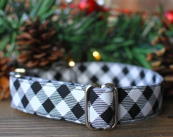 Black and White Buffalo Plaid Collar | Dog Collar | Large Dog Collar | Small Dog Collar | Fabric Dog Collar | Dog Accessories | Pet Collar