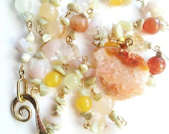 Sun gemstone jewelry handmade beaded necklace pendant lights transparent yellow agate citrine gift for her by olga yellow agate citrine gift