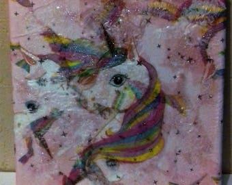 Glittered unicorn canvas