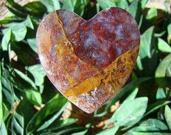 Oregon Plume Agate  Heart Cabochon
