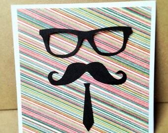 Hand made mustache man birthday card
