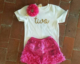 2 Year Old Girl Birthday Outfit, Girls Second Birthday Shirt, Two Year Old Birthday Girl, Second Birthday Outfit, 2nd Girl Birthday