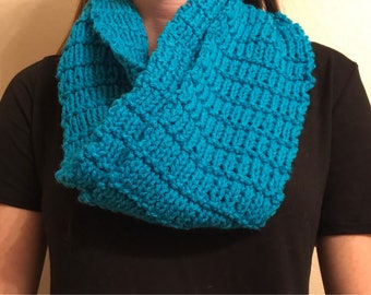 Knit Bright Blue Infinity Scarf