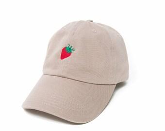 Strawberry Hat, Strawberry Baseball Cap, Vegan Gift, Embroidered Baseball Cap, Adjustable Strap Back Baseball Cap, Low Profile, Khaki