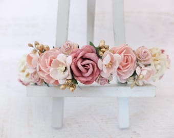 Dark dusty rose blush pink ivory and gold flower crown - wedding floral hair wreath - flower's girl headpiece - hair accessories - halo