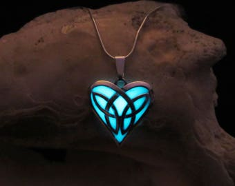 Celtic Heart /Glow in the dark necklace .