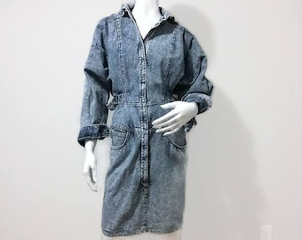 Vintage Jean Dress Acid Washed Denim High Waisted Zips all the way Down 80s by Fancy Ass Baggy Size Small