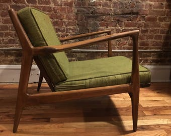 Superior Vintage Mid Century Modern Kofod Larsen Danish Modern Lounge Chair  Beautiful Design Green Cushions
