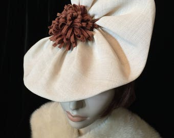 1940's Amazing Hat ~ Beautiful Ruffle Design ~ Fascinator Unique! 30s 40s 1940