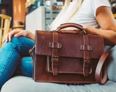 Briefcase Leather Messenger Unisex Messenger Leather Work Bag Messenger Backpack Leather Rucksack Leather Laptop Bag