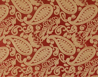 SCALAMANDRE ANGELIQUE PAISLEY Silk Damask Fabric 10 Yards Red Gold