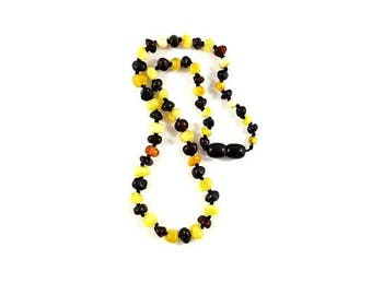 Baltic Amber Teething Necklace Butter Baltic Amber and Dark Cherry Baltic Amber To Help Soothe Teething Babies Baltic Amber To Relief Pain
