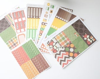 Hello Mr. Fox Autumn Weekly Planner Sticker Kit and Washi Removable Matte  or Glossy Stickers