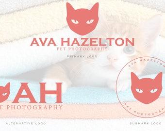Cat Logo, Cat Photography Logo, Pet Photography Logo, Pet Salon Logo, Cat Grooming Logo,  Premade Logo, Cat Watermark, Pet Boutique Logo