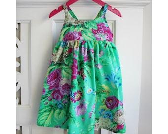 Toddler Girls Dress Size 3 Hummingbird Dress / Green Floral Dress / babies clothing / Summer Dress Baby Dress /  sun dress
