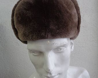 Brand new brown sheared beaver fur & lather  hat men man size all custom made