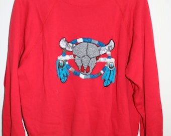 Vtg Embroidered Cow Skull Western Sweatshirt Red XL