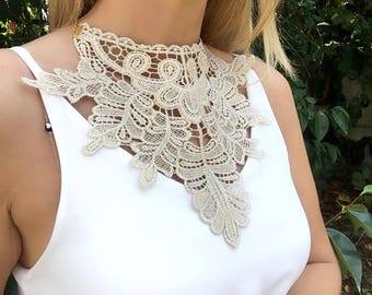 Gold Lace Necklace, Bib Statement, bridal jewelry, gift for her,