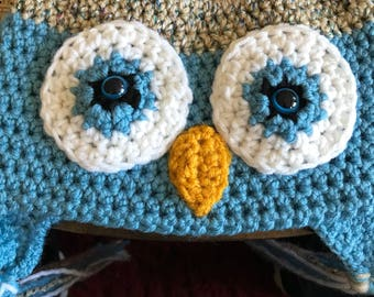 Owl Hat, Crocheted Hat, Kids Ear Flap Hat, Baby and Toddler Hat