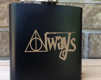 Always - Harry Potter Themed Engraved Single Flask - Wedding Gift - Bridal Gift - Grooms Gift - SHIPS from the USA