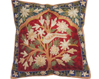 "Tree of Life Decorative Pillow Cover - Crewel Silk Thread Kashmir Embroidered Pattern Throw Accent Cushion from India ~ 16"" x 16"" - NH17513"