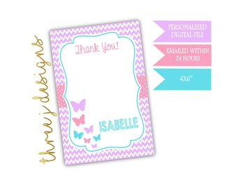 Butterfly Birthday Party Thank You Card - Personalized - Bright Purple, Pink and Blue - Digital File - J011