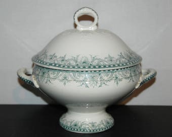 Beautiful shabby chic antique French soup tureen,  dish with lid in white ironstone, green decor from Moulin des Loups, Wilbur model