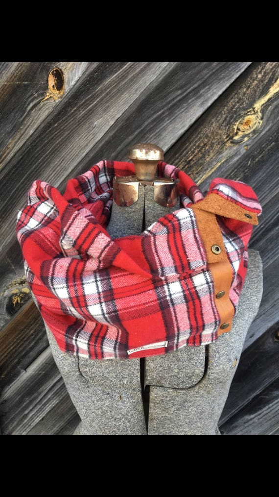 Red and White Plaid Cowl Snap Scarf with leather detail