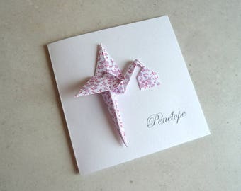 Make origami Stork birth announcement - greeting card - paper purple liberty / handmade / handcrafted