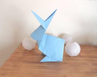 Blue origami rabbit Totem large Center table baptism, birthday