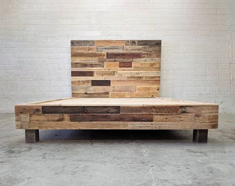 reclaimed wood platform bed base natural twin full queen king cali king california foundation headboard beach