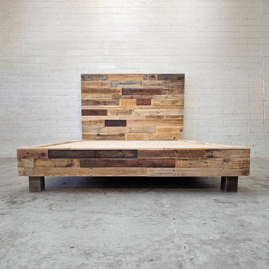 reclaimed wood platform bed base natural twin full queen king. Black Bedroom Furniture Sets. Home Design Ideas