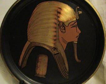 Medium decorative brass plate with embossed Egyptian Pharaoh design