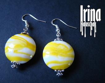 Yellow lampwork earrings Glass beads earrings Lampwork glass beads Yellow boho earrings Handmade beads
