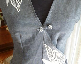 Pretty cross your heart in grey blue jeans trimmed with lace