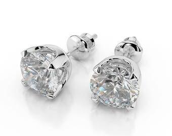 Round Cut 4.00 CT D-F/VVS1 Jewelry Diamond Stud Earrings 14K White Gold