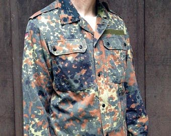 Vintage 1990's German Military Shirt Jacket / Green brown Camo / Several sizes available- see measurements