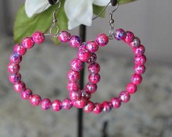Beaded Large Hoop Earrings, Raspberry Pink Glass Beads, Fashion Earrings
