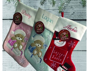 Personalised Name Embroidered Christmas stocking Decoration